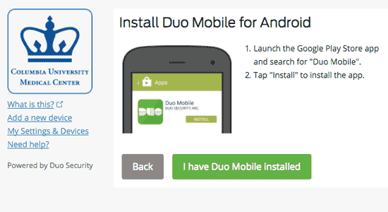 Sample instructions to install Duo on the smartphone.