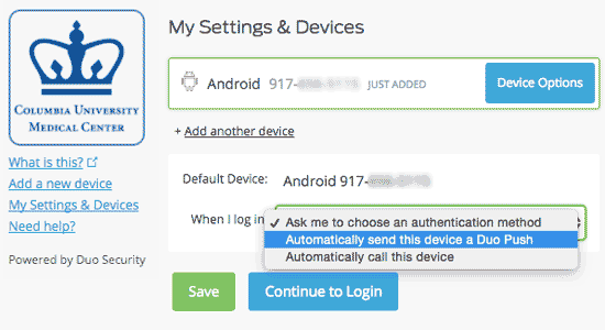 "Device information and options for ""When I log in"""